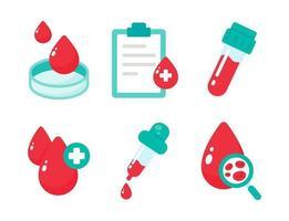vetor de sangue que indica o tipo de sangue o conceito de um exame de sangue para diagnosticar uma doença grave