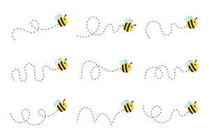 caminho de vôo de abelha uma abelha voando em linha pontilhada o caminho de vôo de uma abelha para o mel vetor