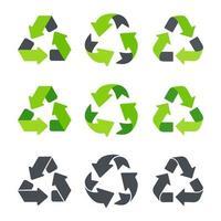 ícone de reciclagem uma seta que gira indefinidamente reutilizar conceito reciclado isolado em fundo branco vetor