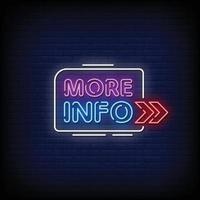 mais informações sinais de néon estilo texto vetor
