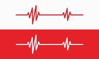 ilustração de linha de batimento cardíaco, rastreamento de pulso, ecg ou ekg, símbolo gráfico de cardio para ilustração vetorial de análise médica e saudável vetor