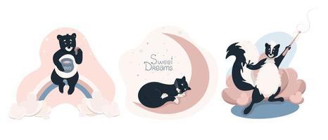 conjunto de clip-arts com animais fofos, ilustração vetorial de bebê fofo na posição horizontal de estilo simples vetor