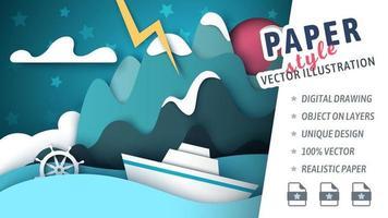 cortar barco estilo papel e montanha na tempestade vetor