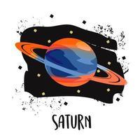 ilustração vetorial planeta Saturno em estilo retro plano de desenho animado vetor