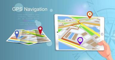 design de estilo plano de modelo de banner da web para site ou infográficos navegação móvel sistema gps localização de destino encontre o caminho certo ilustração vetorial vetor