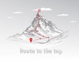 rota de escalada para o pico do caminho da jornada de negócios em andamento para o sucesso conceito vetorial rota de escalada do pico da montanha para o topo ilustração da rocha vetor