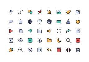 interface do usuário essenciais linha cor estilo conjunto de ícones vetor