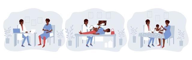 um conjunto de ilustrações com uma grávida afro-americana visitando um médico vetor