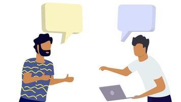 dois homens de escritório conversando, trabalhando em conjunto com a maquete de mensagem do balão de bolha para seu texto vetor