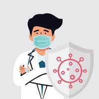 médico com escudo contra o coronavírus vetor