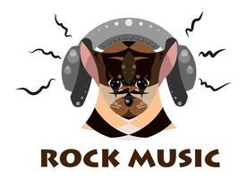 imagem vetorial de um cachorro com fones de ouvido que ouve música vetor