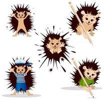 Imagem vetorial de clip-art ouriço de uma série de ilustrações com um ouriço vetor