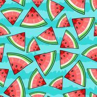 padrão sem emenda com pedaços de melancia em fundo de faixa azul vetor