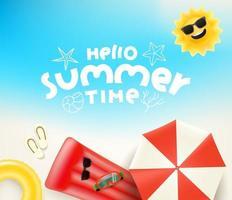 Olá, ilustração vetorial de horário de verão com diferentes coisas de praia vetor