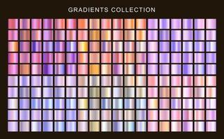 conjunto de coleção de gradientes metálicos. texturas holográficas de gradientes roxos vetor