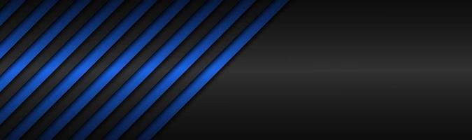 cabeçalho de vetor metálico abstrato azul escuro com linhas inclinadas padrão listrado azul linhas paralelas e tiras vetor de fundo widescreen abstrato com espaço em branco para seu logotipo