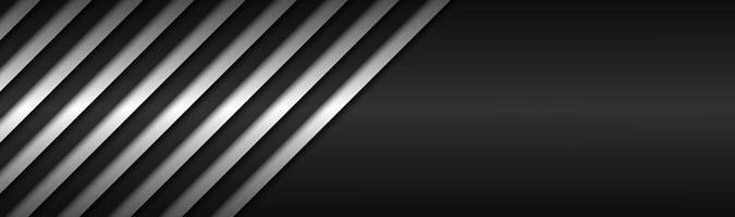 cabeçalho de vetor metálico abstrato preto e branco com linhas inclinadas padrão listrado preto e branco, linhas paralelas e tiras vetor fundo abstrato widescreen