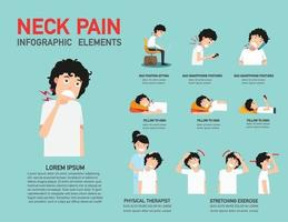 vetor de ilustração infográfico de dor no pescoço