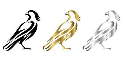 ilustração em vetor arte linha três cores preto ouro prata sobre fundo branco de um falcão adequado para fazer logotipo