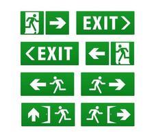 conjunto de sinalização de saída de emergência vetor
