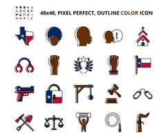 conjunto de ícones de cor perfeita de pixel relacionado com escravidão de junho vetor