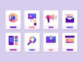 Elementos de marketing de negócios digitais vetor