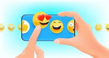 homem segurando smartphone com emojis para reagir vetor
