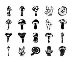 conjunto de ícones de fungos vetor
