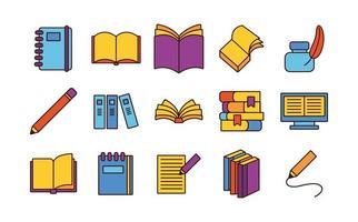 pacote de quinze livros conjunto de ícones de literatura vetor