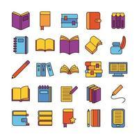 pacote de vinte e cinco livros conjunto de ícones de literatura vetor