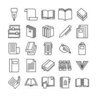 pacote de vinte e cinco livros coleção de ícones vetor