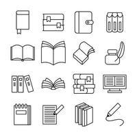 conjunto de ícones de conjunto de literatura de dezesseis livros vetor
