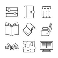 pacote de nove livros conjunto de ícones de literatura vetor
