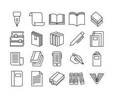 pacote de vinte livros conjunto de ícones de literatura vetor