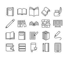 pacote de vinte livros ícones de coleção de conjuntos de literatura vetor