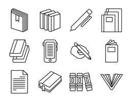 pacote de doze livros conjunto de ícones de literatura vetor