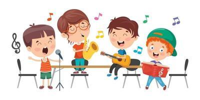 crianças engraçadas tocando música vetor