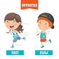 adjetivos opostos com desenhos animados vetor