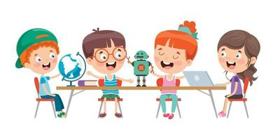 crianças estudando na sala de aula vetor