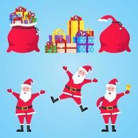 Papai Noel e sacolas de presente com presentes definem ilustração em vetor personagem estilo simples