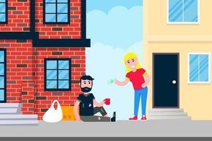 homem sem-teto sentado com a xícara e pedir dinheiro perto do prédio na cidade Pessoas pobres ajudam conceito estilo plano design ilustração vetorial isolada no fundo branco vetor