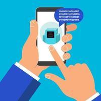mão segurando o ícone do bot 1 de bate-papo do telefone celular preto na tela de toque do dedo do ponteiro do ponteiro da tela isolada no fundo vetor