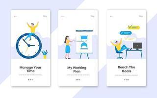 3 banners de gerenciamento de tempo vertical definidos com planejamento de tempo de trabalho ilustração em vetor design estilo simples