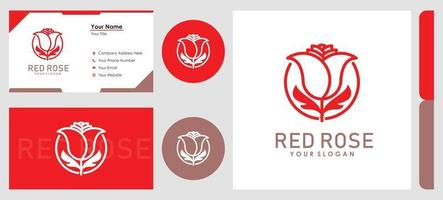 flor rosa elegante minimalista com conjunto de estilo de arte de linha de logotipo e design de cartão de visita vetor