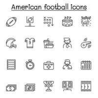 ícone do futebol americano definido em estilo de linha fina vetor