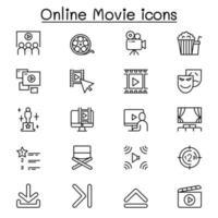 ícone de filme online definido em estilo de linha fina vetor
