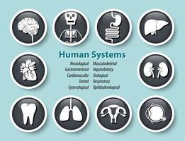 conjunto de ícone de sistemas humanos redondo design de tampa de vidro vetor