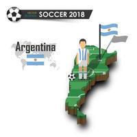 Jogador de futebol da seleção nacional de futebol da Argentina e bandeira no vetor de fundo isolado do mapa do país de design 3d para o conceito do torneio do campeonato mundial internacional 2018