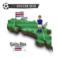 Jogador de futebol da equipe nacional de futebol da costa rica e bandeira no vetor de fundo isolado do mapa do país de design 3d para o conceito de torneio do campeonato mundial internacional 2018
