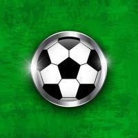ícone de futebol bola de futebol com vidro coberto e borda de metal em vetor de fundo de textura de grama de cor verde para torneio de campeonato mundial internacional